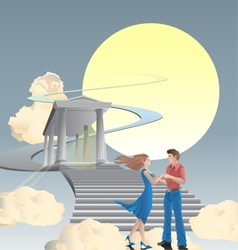 couple in front of stairway vector image vector image