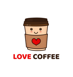 cute funny happy paper coffee cup vector image
