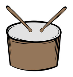 Drum and drumsticks icon cartoon vector