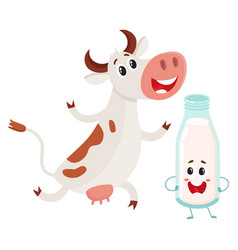 Farm cow and milk bottle characters with smiling vector