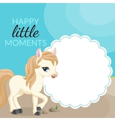 Frame with pony and place for text vector