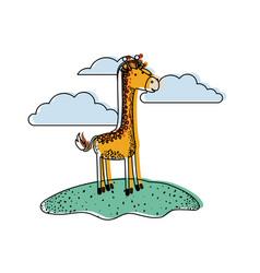 Giraffe cartoon in outdoor scene with clouds in vector