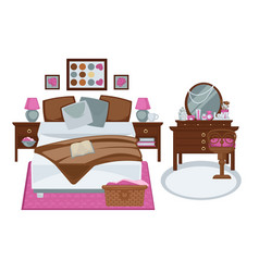 Glamour interior of girls bedroom in pink and vector
