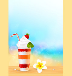 Glass of exotic cocktail with strawberry on beach vector