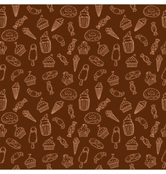 Hand drawn seamless pattern with cupcakes sweets vector image vector image