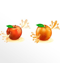 Juice squirting out of fruit vector