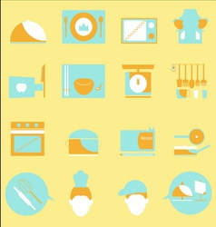 Kitchen color icons on yellow background vector image vector image