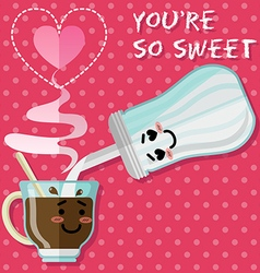 Loving couple of coffee or tea cup and sugar bowl vector
