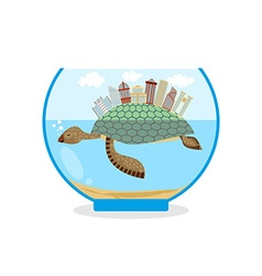 Mini city on shell of turtle micro ecosystem in an vector
