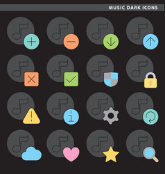 Music dark icons vector