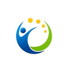 people swoosh sport happy logo vector image vector image