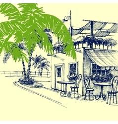 Restaurant on the beach terrace and palm trees vector