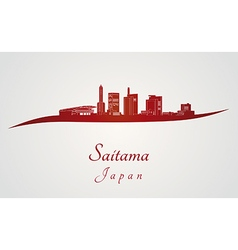 Saitama skyline in red vector image vector image