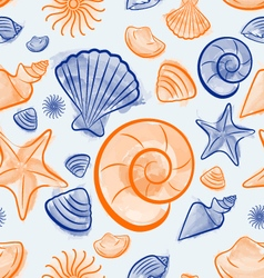 Seashell summer seamless pattern vector