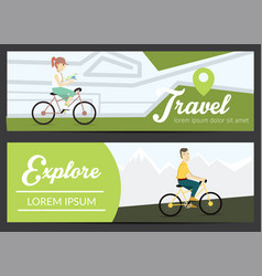 Set of banners with young people vector