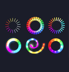 set of rainbow loading sliders with sparkles vector image vector image