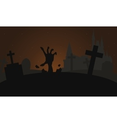 Silhouette of hand zombie scary halloween vector image