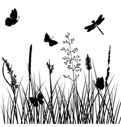 Silhouettes of grass with butterflies vector
