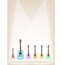 Six Colorful Guitar on Brown Stage Background vector image vector image