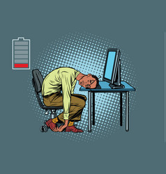 Sleeping african businessman at the computer vector