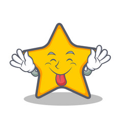Tongue out star character cartoon style vector