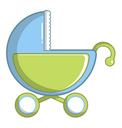 Toy baby carriage icon cartoon style vector