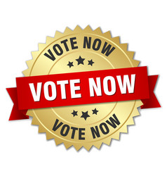 Vote now 3d gold badge with red ribbon vector