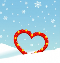 winter heart vector image vector image