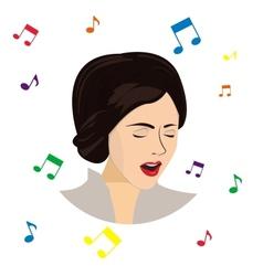 Singing girl vector