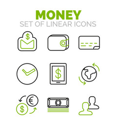 set of finance money icons vector image