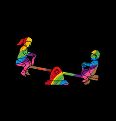 Little boy and girl are playing seesaw together vector