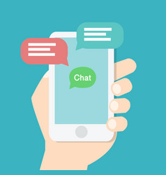 Hand holding smart phone with chat application vector