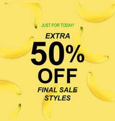 summer sale poster with banana vector image