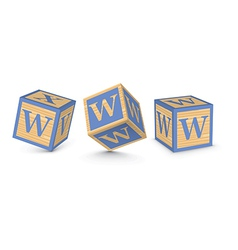 Letter w wooden alphabet blocks vector