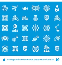 Ecology and environmental conservation icons set vector