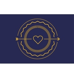 Hipster heart logo icon royal love vector