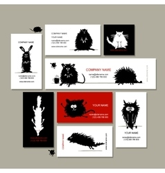 Business cards with animals black sketches for vector