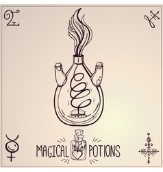 Hand drawn vintage alchemical laboratory icon vector