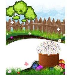 Easter bread and painted eggs vector