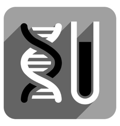 Genetic analysis flat square icon with long shadow vector