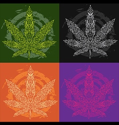 Marijuana cannabis leaf textured symbol vector
