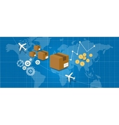 Delivery package shipping world wide map globe vector