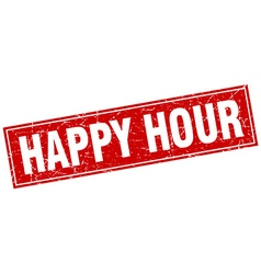 happy hour red square grunge stamp on white vector image