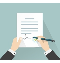 Businessman signing document  hands holding vector