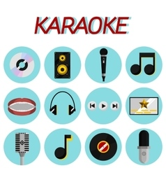 Karaoke flat icon set vector