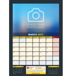March 2017 wall calendar for 2017 year vector
