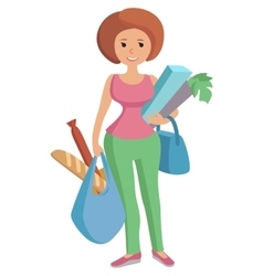 A girl carrying bags groceries vector
