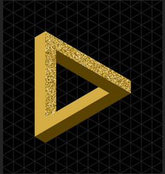 Abstract gold glitter impossible triangle shape vector