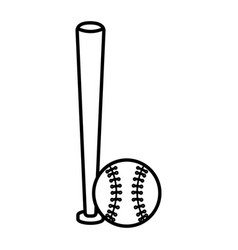 baseball bat and ball equipment isolated icon vector image