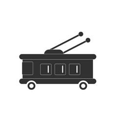 Black icon on white background trolleybus vector